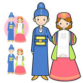 Korean traditional wedding the newlyweds. Marriage and Parenting — Stock Vector