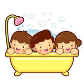 Entertain the children a bath. Marriage and Parenting Character  — Stock Vector