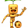 3D Wood Doll Mascot is a powerful Football playing. Wooden Ball — Stock Photo #48444241