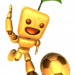 3D Wood Doll Mascot dribbled the ball towards the goal with spee — Stock Photo #48444245