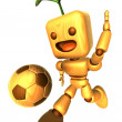 3D Wood Doll Mascot is a powerful Football playing. Wooden Ball — Stock Photo #48444251