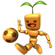 3D Wood Doll Mascot dribbled the ball towards the goal with spee — Stock Photo #48444257