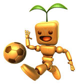 3D Wood Doll Mascot dribbled the ball towards the goal with spee — Stockfoto