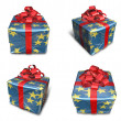 3D star pattern wrapped gift box set. 3D Icon Design Series. — Stock Photo #48768179