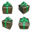 3D check pattern wrapped gift box set. 3D Icon Design Series. — Stock Photo #48768297