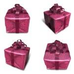 3D purple wrapped gift box set. 3D Icon Design Series. — Stock Photo #48768375