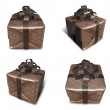 3D Brown wrapped gift box set. 3D Icon Design Series. — Stock Photo #48768439