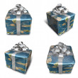 3D Earth wrapped gift box set pattern. 3D Icon Design Series. — Stock Photo #48768455