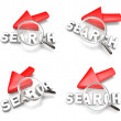 3D arrow cursor and the magnifying glass icon. 3D Icon Design Se — Stock Photo