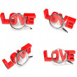 3D LOVE and magnifying glass icon. 3D Icon Design Series. — Stock Photo #48768827
