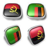 Angola and Zambia 3d metalic square flag button. 3D Icon Design — Stock Photo