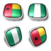 Guinea bissau y nigeria botón metálico bandera cuadrada 3d. ico 3d — Foto de Stock
