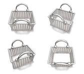 3d white silver shopping bag range four set . 3D Icon Design Ser — Stock Photo