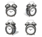 3d silver metal alarm range four set . 3D Icon Design Series.  — Stock Photo