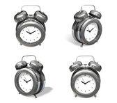 3d silver metal alarm range four set . 3D Icon Design Series.  — Foto de Stock