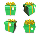 3D lime green square gift box set. 3D Icon Design Series.  — Foto de Stock