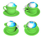 3D Green coffee cup icon in the genus Earth. 3D Icon Design Seri — Stock Photo