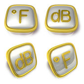 Fahrenheit and Decibel 3d metalic square Symbol button . 3D Icon — Stock Photo