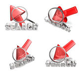 3D arrow cursor and the magnifying glass icon. 3D Icon Design Se — Stock fotografie