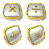 Multiply and Division 3d metalic square Symbol button. 3D Icon D — Stok fotoğraf