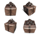 3d brown svept gåva boxen. 3d ikonen design serie. — Stockfoto