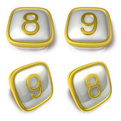 Eight and Nine 3d metalic square Symbol button. 3D Icon Design S — Stockfoto