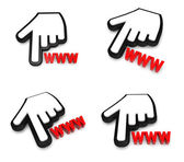 3D hand cursor and the WWW icon. 3D Icon Design Series.  — Stock Photo