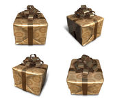 3D golden gift box packaging. 3D Icon Design Series.  — Stock fotografie