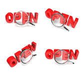 3D OPEN and magnifying glass icon. 3D Icon Design Series.  — Stock Photo