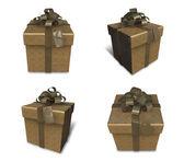 3D golden gift box set in a square. 3D Icon Design Series.  — Stock fotografie