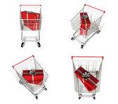 与 3d 购物车图标的矩形的礼品盒。3d 图标设计 — 图库照片