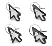 3D magnifying glass icon with the mouse cursor. 3D Icon Design S — Stock Photo