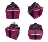 3d lila umschlossenen geschenk-box-set. 3d icon-design-serie. — Stockfoto