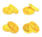 3d gold coin range four set . 3D Icon Design Series. — Stock fotografie