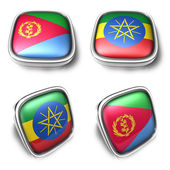 Eritrea and Ethiopia 3d metalic square flag button. 3D Icon Desi — Stock Photo