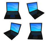3d notebook černá rozsah čtyři sady. 3d ikony designu série. — Stock fotografie