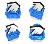 3d white arrow in shopping bag range four set . 3D Icon Design S — Stock Photo