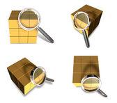Büyüteç simgesini 3b teslimat kutusu. 3d simge tasarım s — Stok fotoğraf