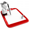 3D medical doctor checking on the red chart. 3D Square Man Serie — Stock Photo #49316531
