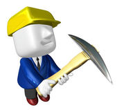 3d engineer working with their big pickax. 3D Square Man Series. — Stock Photo