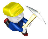 3d man miner with hardhat and pickaxe on white background. 3D Sq — Stock Photo