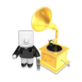 3D Business man Mascot and old record player. 3D Square Man Seri — Stock Photo