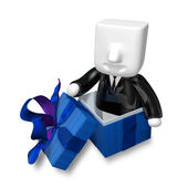 3d Businessman and present box on white background. 3D Square Ma — Foto Stock