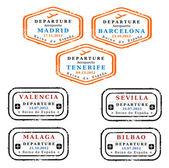Spain visa stamps — Stock Vector