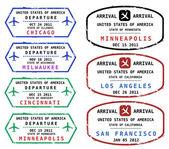 Seyahat pullar — Stok Vektör