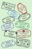 Passport stamps — Vector de stock