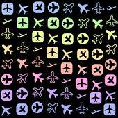Iconos de avión — Vector de stock