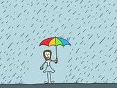 Girl in rain — Stock Vector