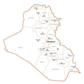 Iraq outline map — Vetor de Stock