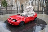 Sydney crushed car sculpture — Stock Photo